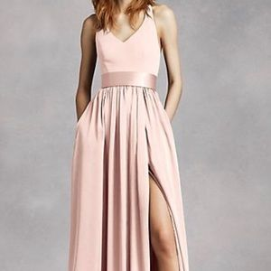Vera Wang V Neck Halter Gown with Sash